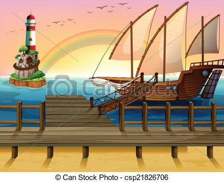 Vector Clipart of Boat and pier.