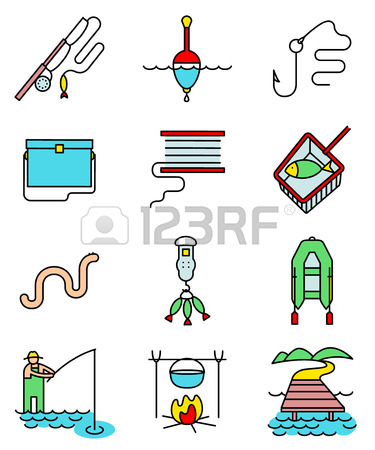 Fishing Hobby Line Art Thin And Simply Colorful Icons Set.