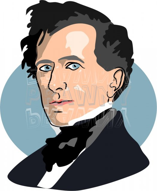 American President Franklin Pierce Clipart Illustration.