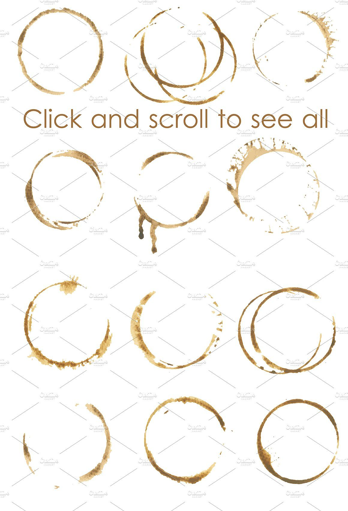 Coffee stains clipart and brush set #textile#Photoshop.