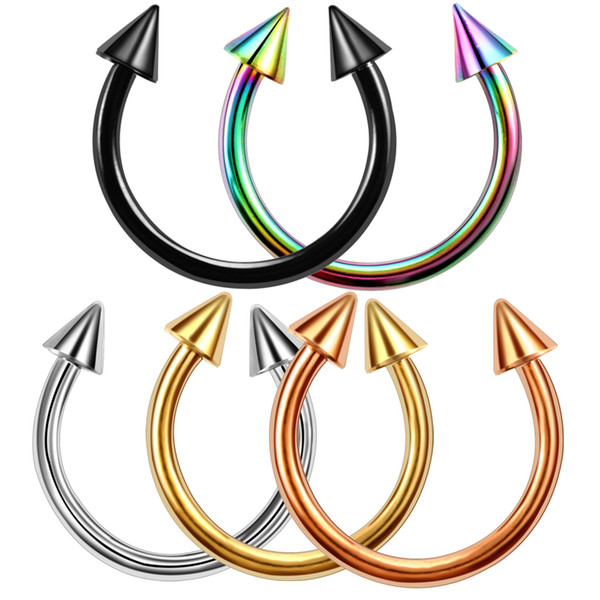 2019 Colorful Stainless Steel Horseshoe Spike Nose Septum Rings Eyebrow  Tragus Ear Rings Body Piercing Nariz Jewelry Piercing From Pickled, $33.17.