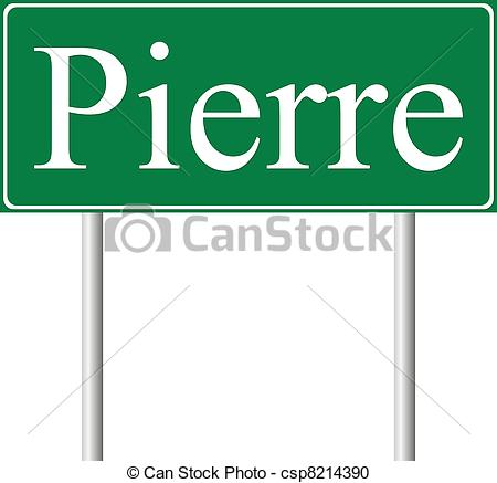 Vector Clipart of Pierre green road sign isolated on white.