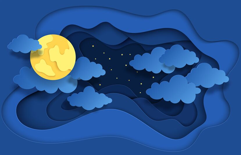 Paper cut night sky. Dreamy background with moon stars and.