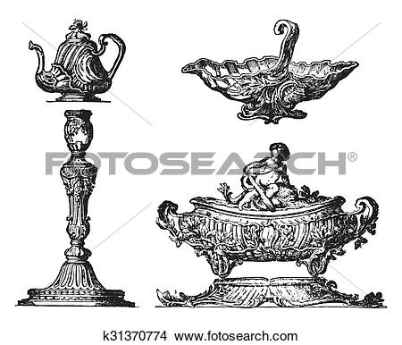 Drawings of Various parts of a table service, after Pierre Germain.