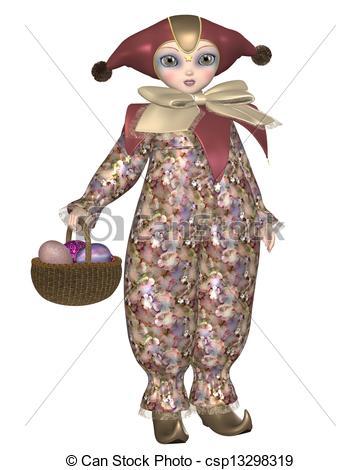 French Pierrot Clown Clip Art.