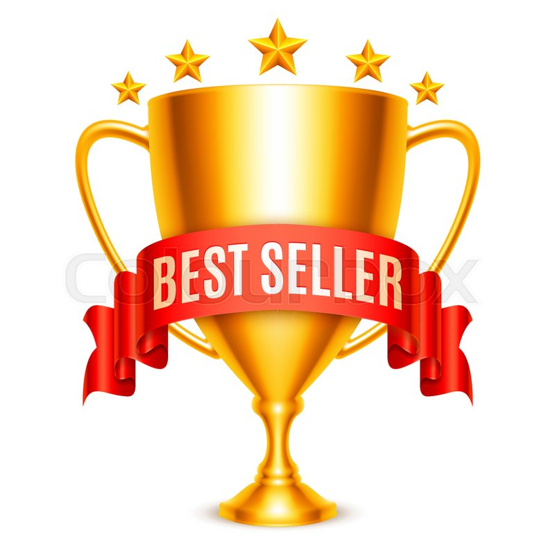 Golden trophy cup with Best Seller message and five stars.