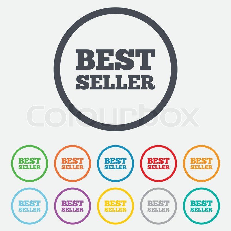 Best seller sign icon. Best seller award symbol. Round metallic.