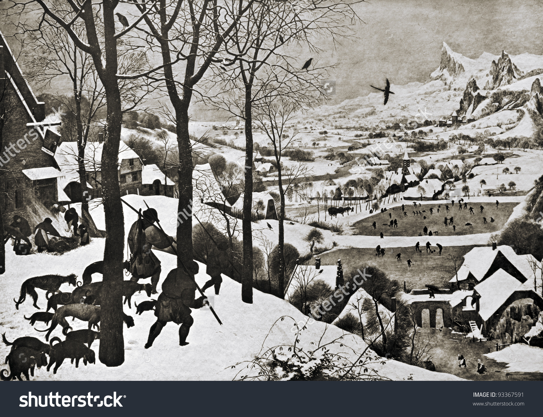 Pieter Bruegel Elder Winter Landscape Reproduction Stock Photo.