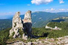 Rarau Mountains And The Lady's Rocks Stock Photo.