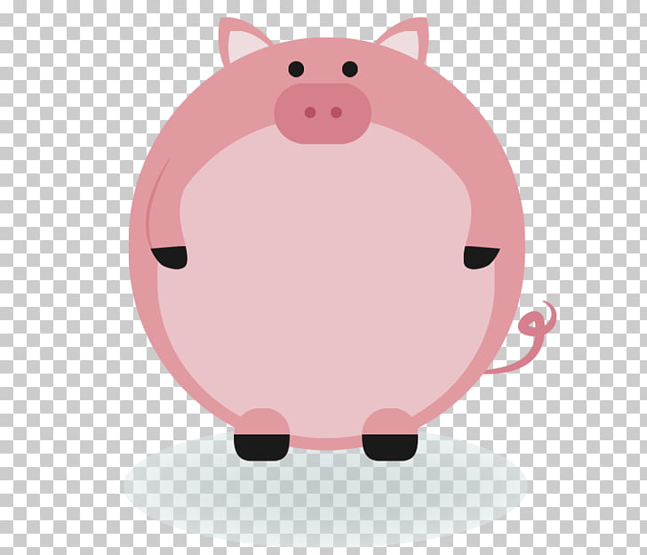 Domestic pig Animal Label , Cute Pink Pig Creative Border.