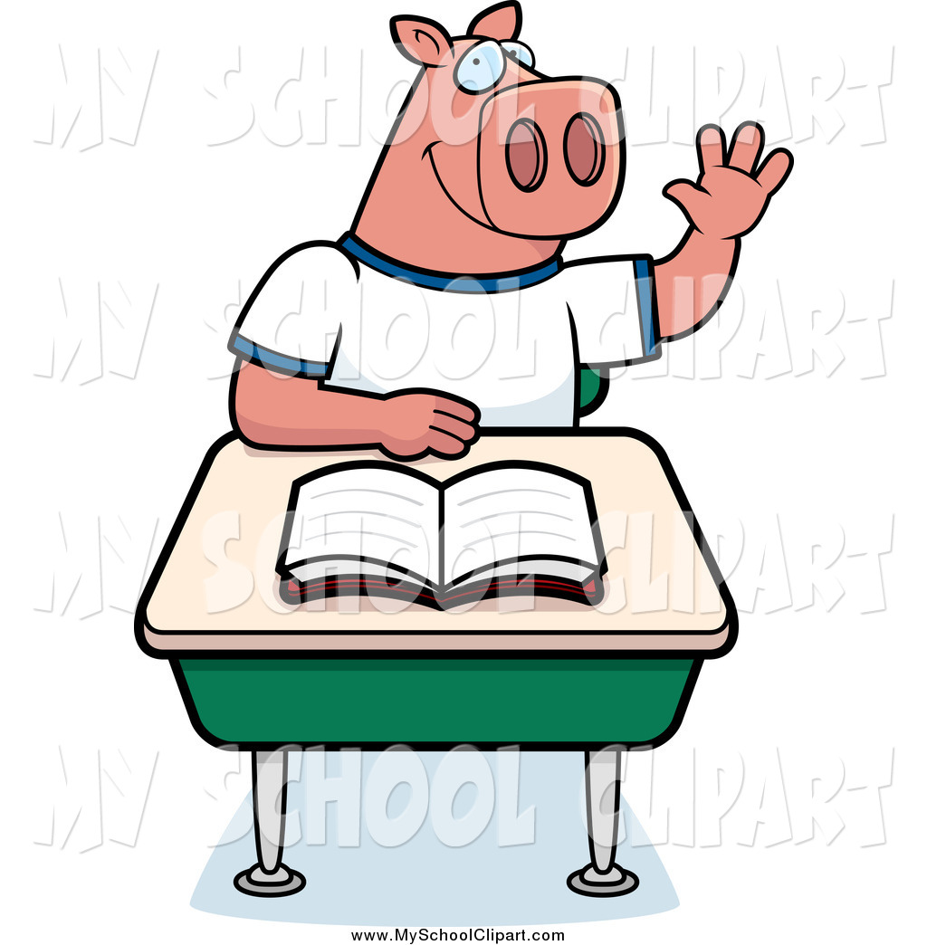 Pigs at school clipart.