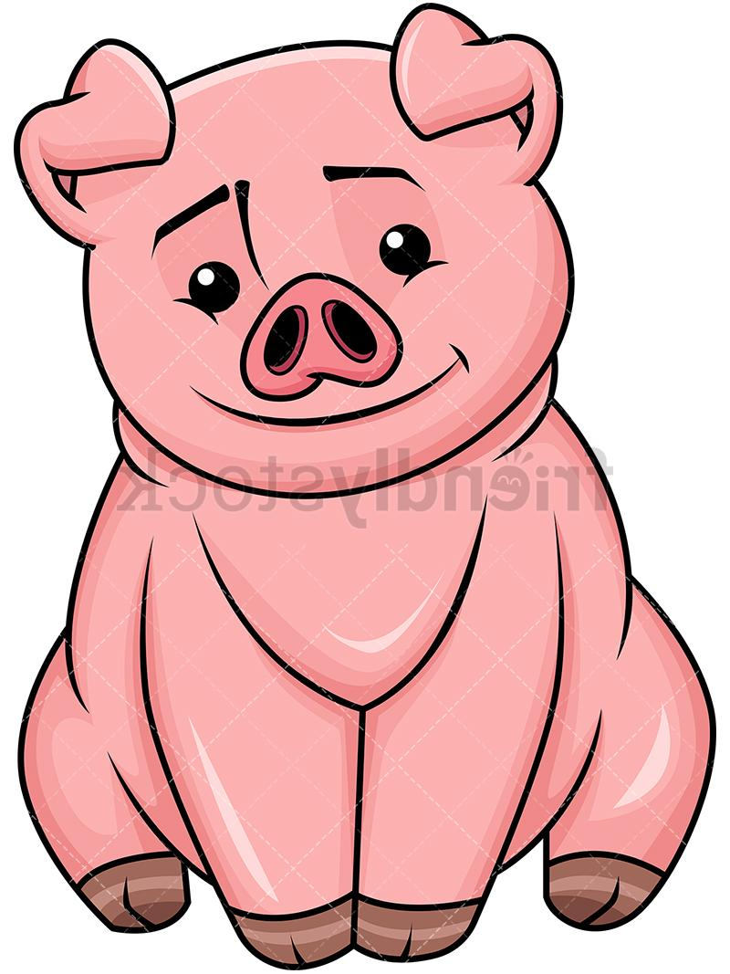 Unique Cute Cartoon Pig Clip Art Design » Free Vector Art.