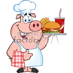 10725 Royalty Free RF Clipart Chef Pig Cartoon Mascot Character Holding A  Tray Of Fast Food And Giving A Thumb Up Vector Illustration clipart..