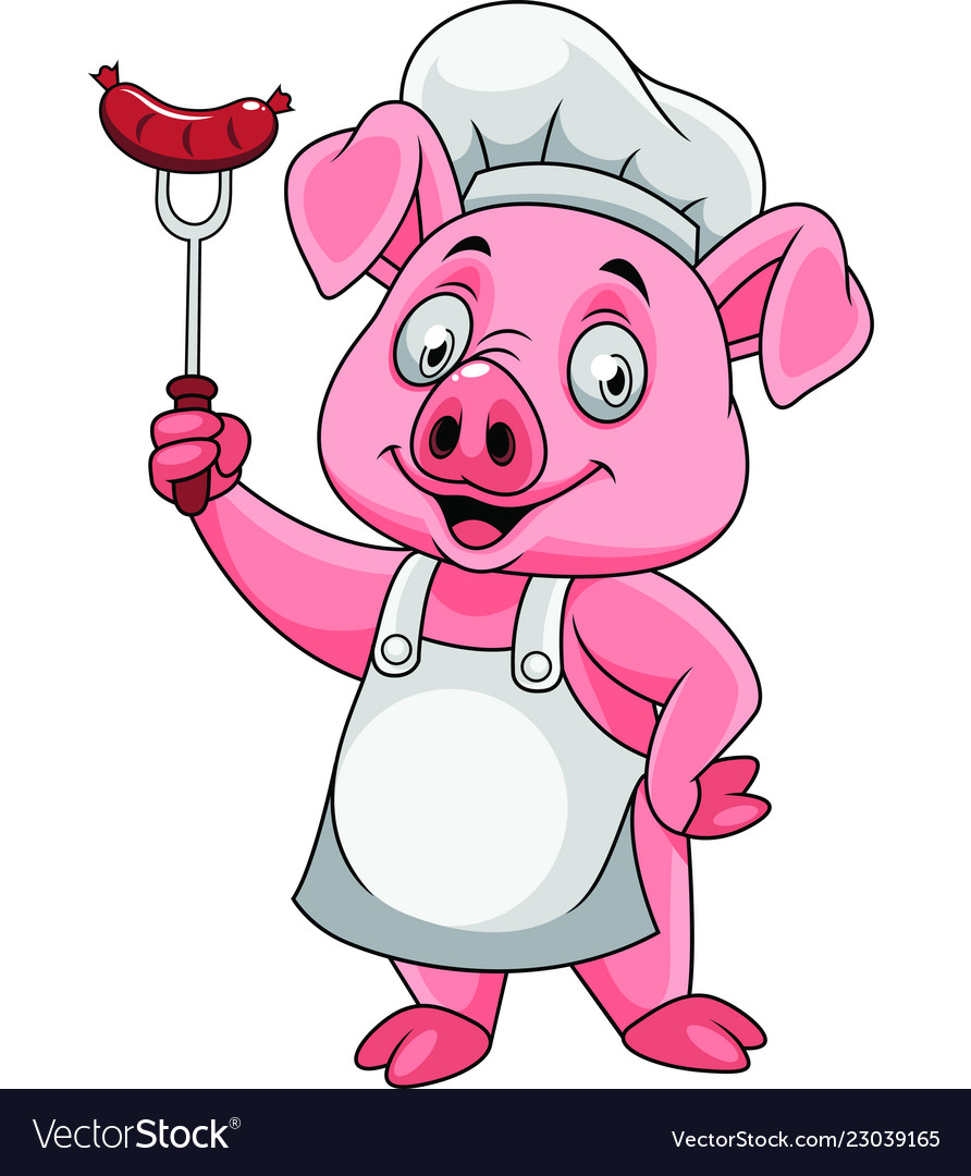 Cartoon happy pig chef holding a sausage on fork.
