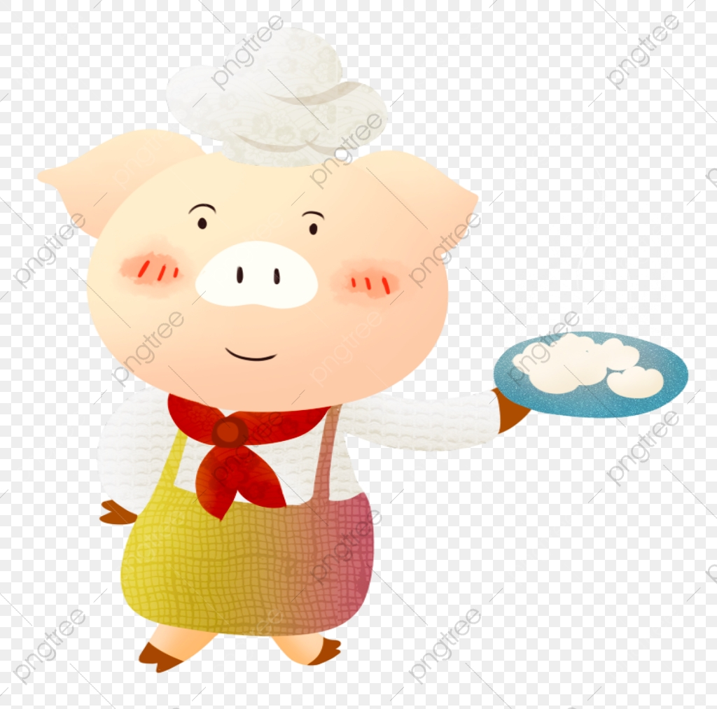 Lady Pig Chef, Pig Clipart, Lady Clipart, Chef Clipart PNG.