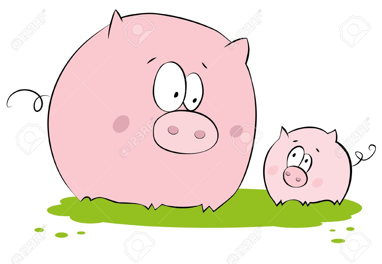 Funny Pig : Mother And Child Royalty Free Cliparts, Vectors, And.