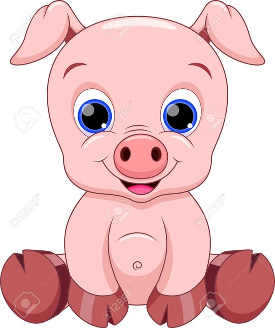 Cute Baby Pig Cartoon Royalty Free Cliparts, Vectors, And Stock.