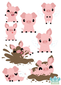 Cute Pigs Clipart, Instant Download Vector Art, Commercial Use Clip Art,  Cute.