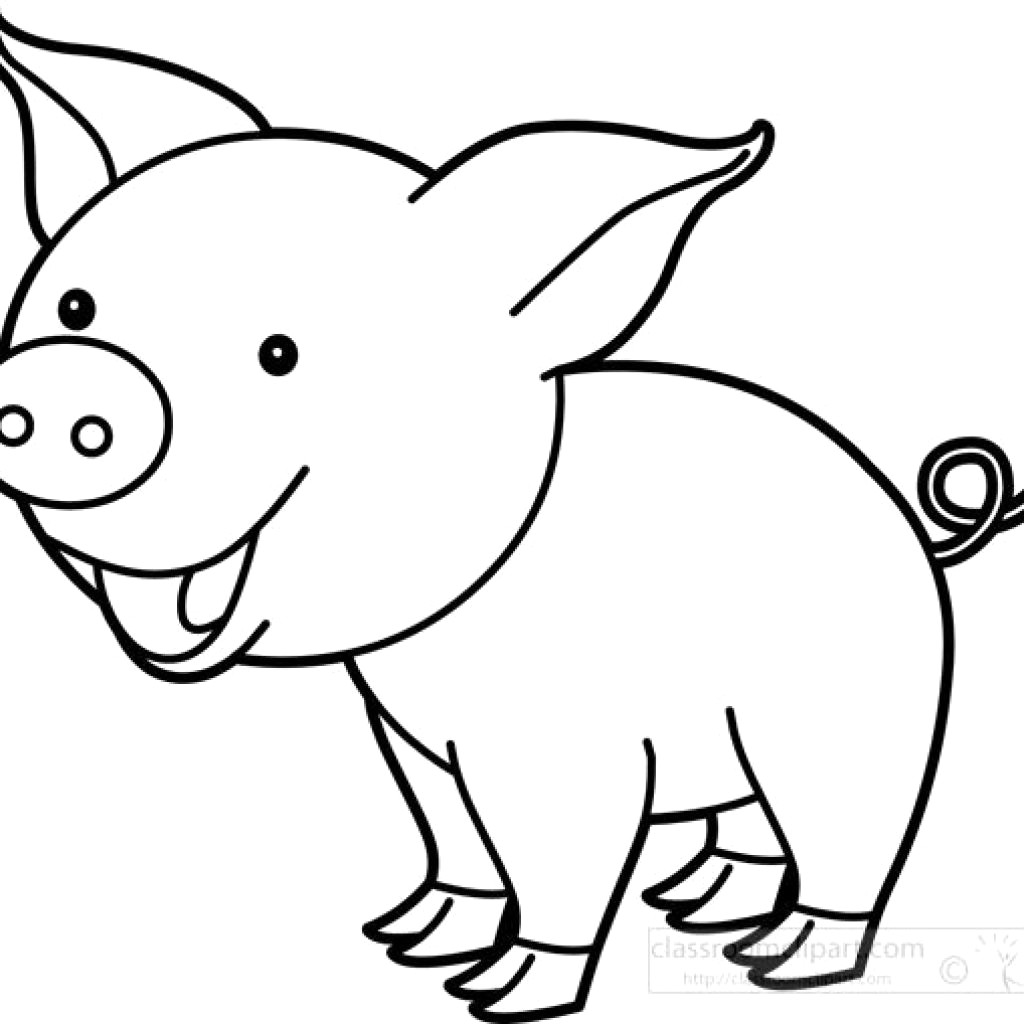 Pig clipart outline 1 » Clipart Station.