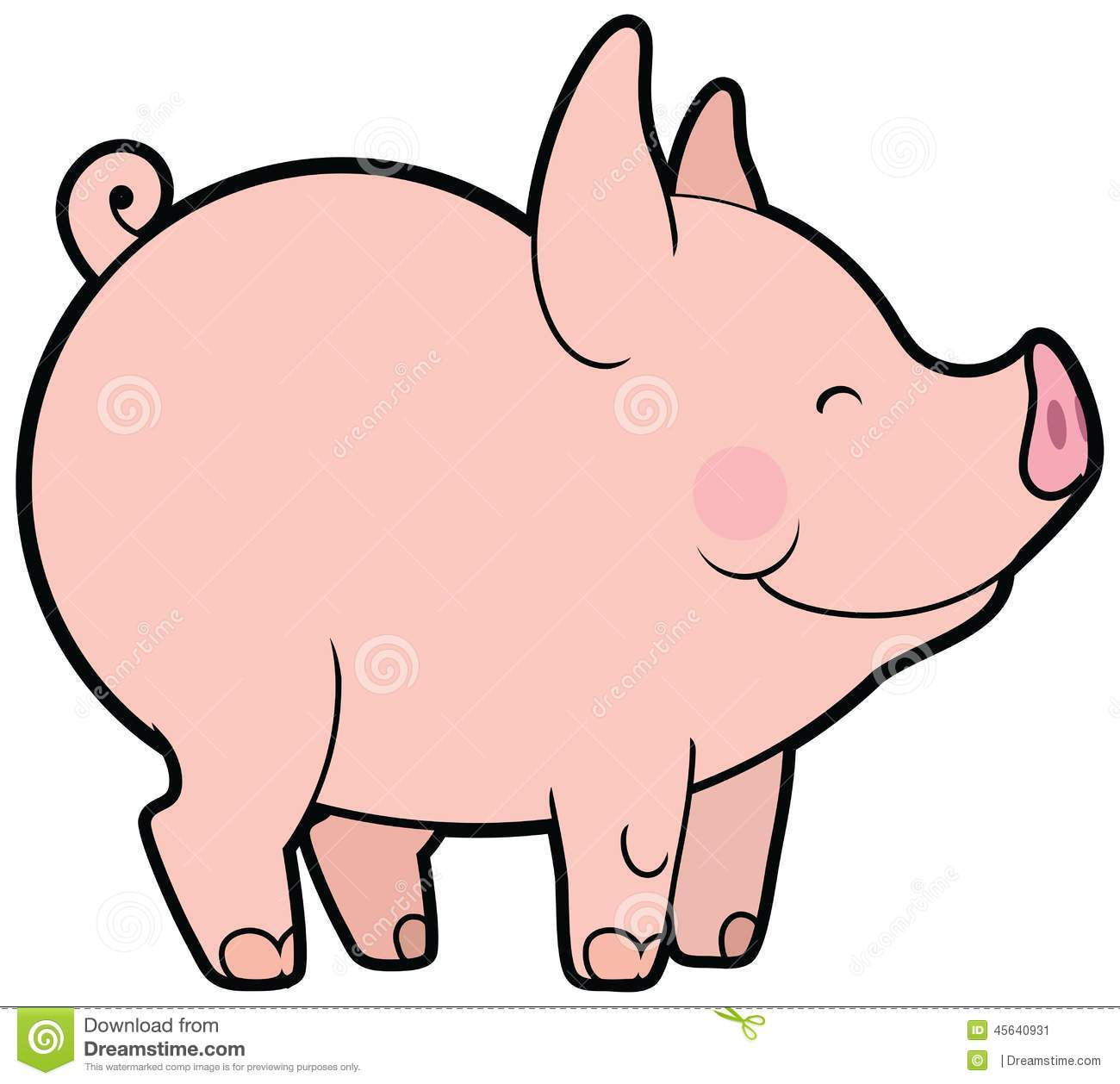 Pig Clipart Vector Cute.