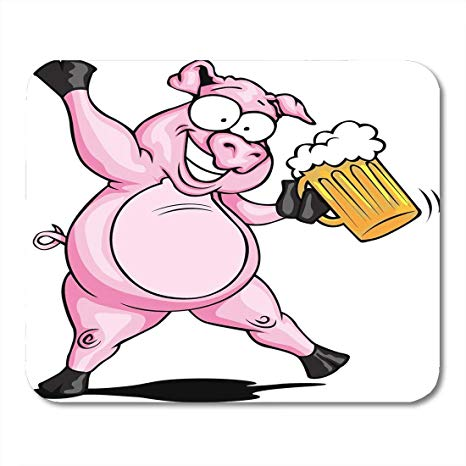 Amazon.com : Mouse Pad Beer Party Pig Drink BBQ Cartoon.