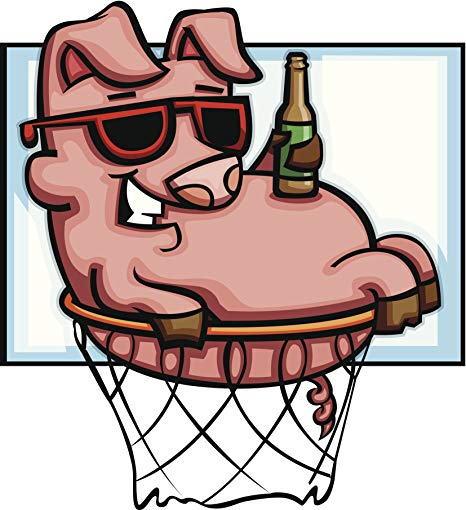 Amazon.com: Silly Relaxed Pig in Basketball Hoop with Drink.