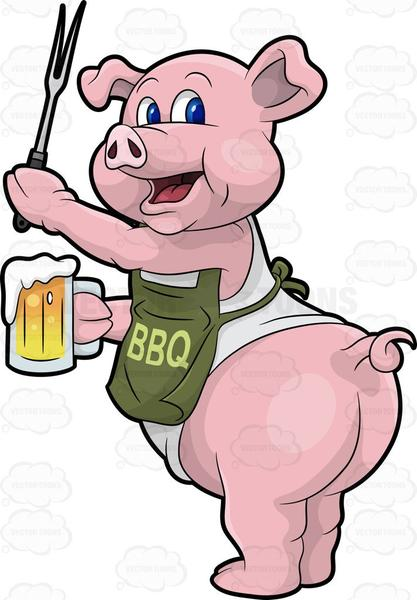 A Pig Cook Holding A Beer And Bbq Fork.