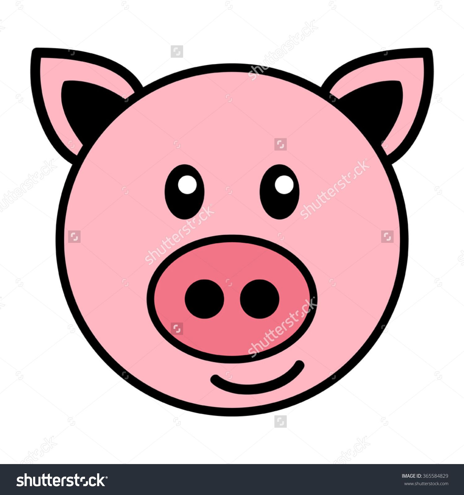 Image result for simple cartoon pig face.