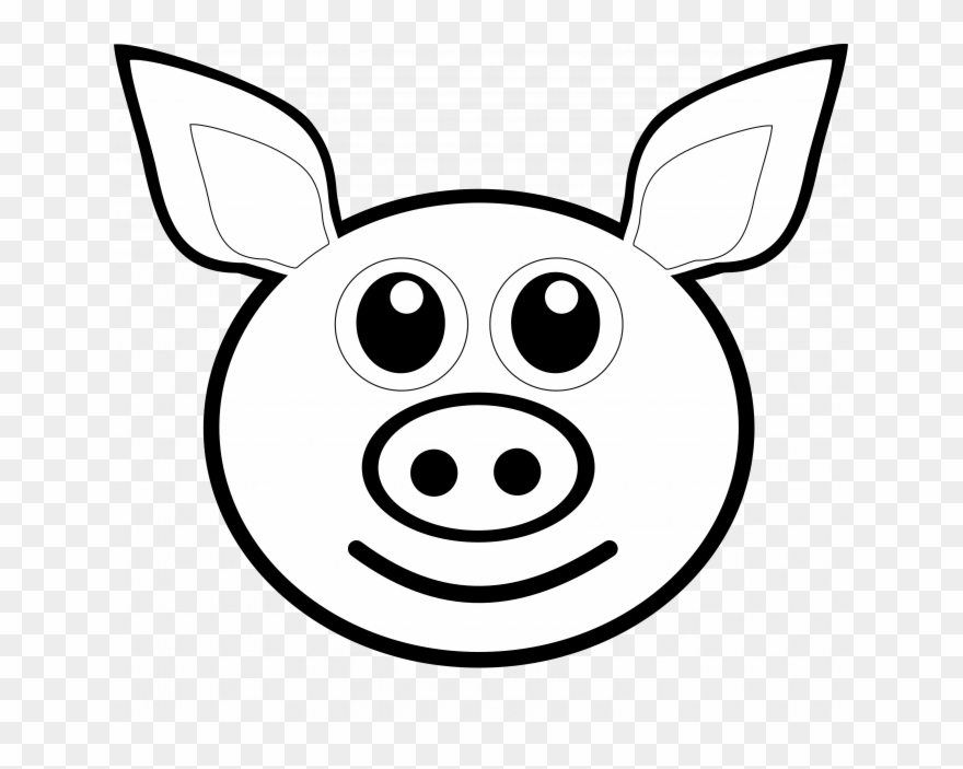 Black And White Stock Eyes Clipart Pig.