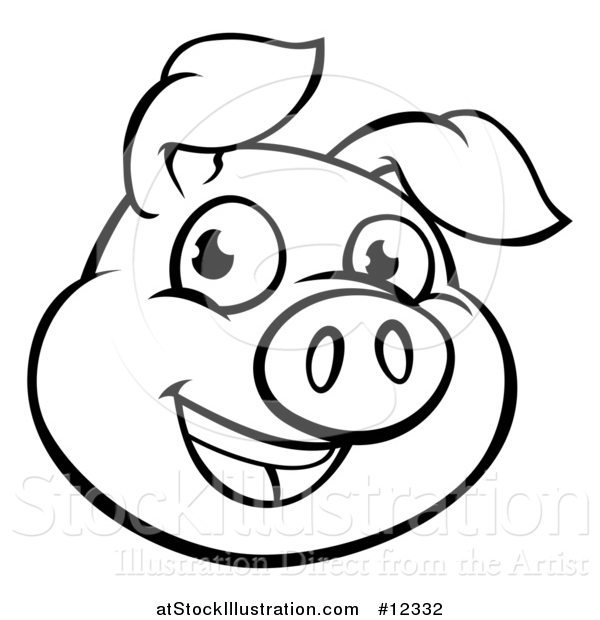 Pig face clipart black and white 1 » Clipart Station.