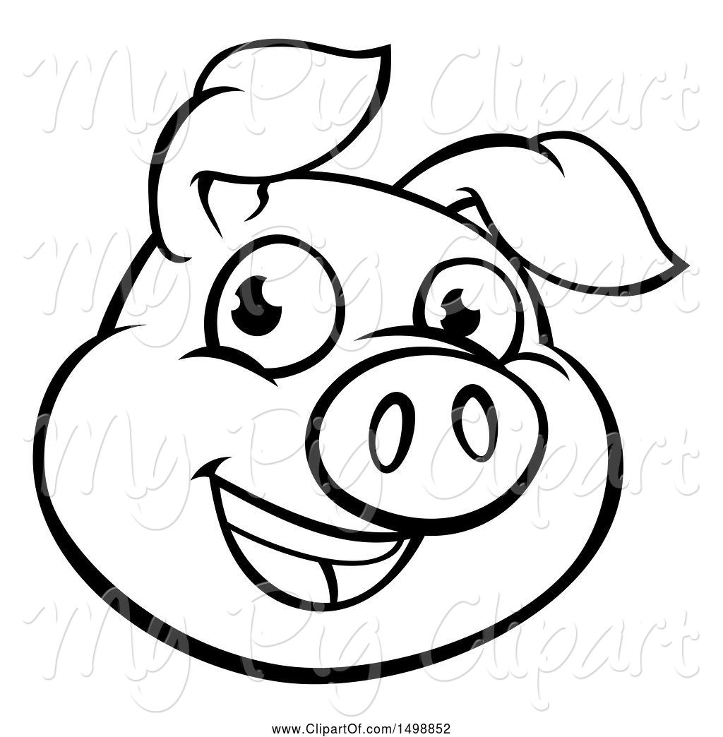 Swine Clipart of Cartoon Black and White Happy Pig Face by.