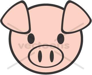Cute Pig Face Clipart.