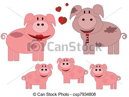 Vector of Family animals,pigs csp7934808.