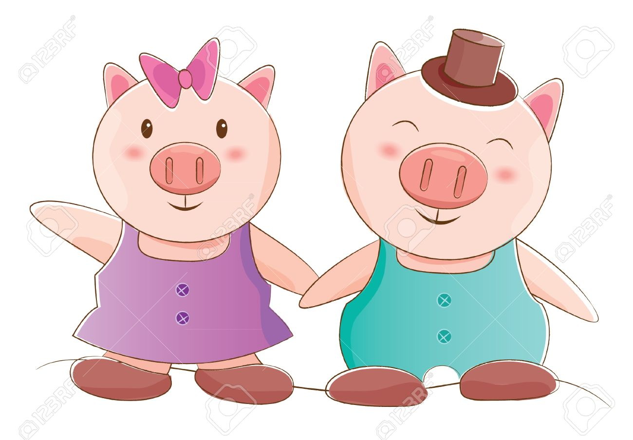 Animals Couple Series Piggy Royalty Free Cliparts, Vectors, And.