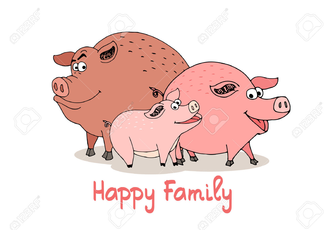 Happy Family Of Fun Cartoon Pigs With A Boar Sow And Baby Piglet.