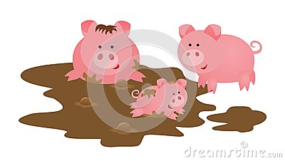 Mother Baby Pig Stock Illustrations.
