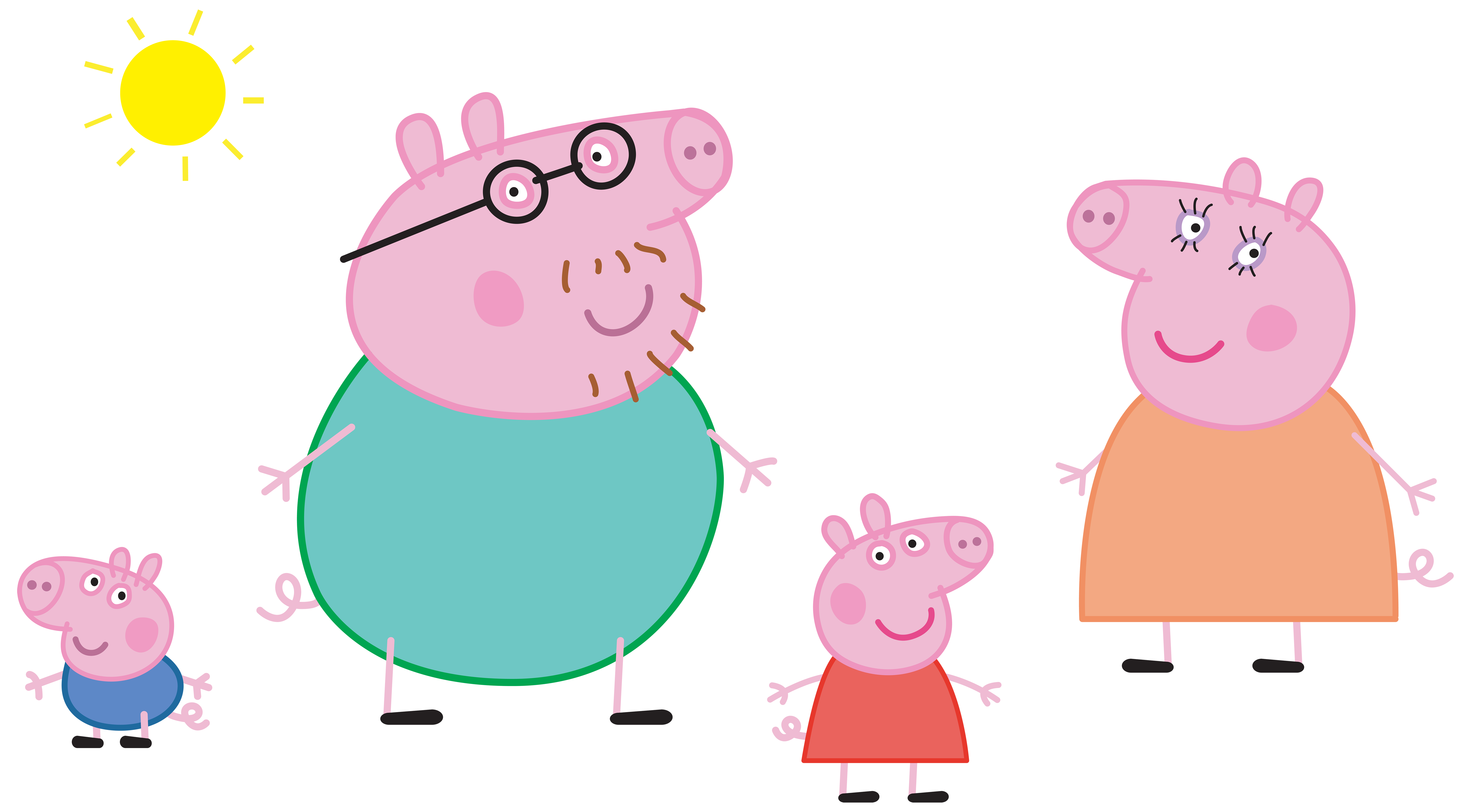 Peppa Pig Family Logo Transparent PNG Clip Art Image.