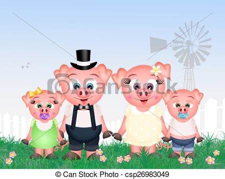 Drawing of pigs family.