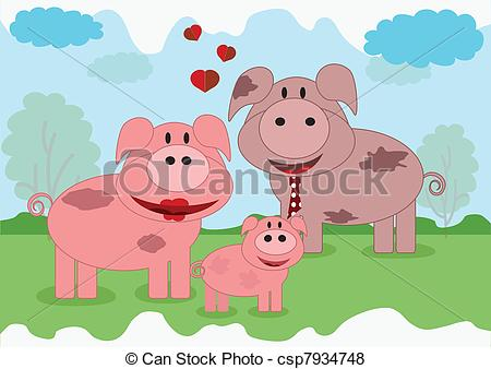 Vector of Family animals,pigs.