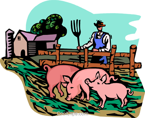 farm scene with pigs Royalty Free Vector Clip Art.