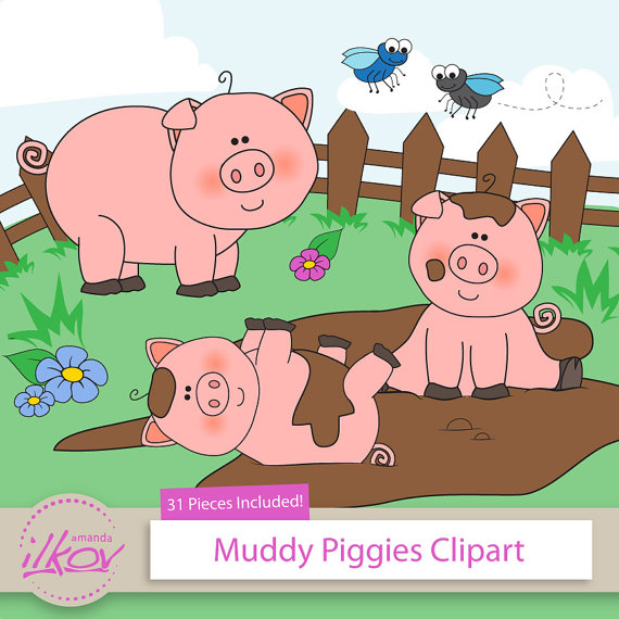 Premium 31pc Pigs in Mud Clipart for Digital Scraps Crafts by.