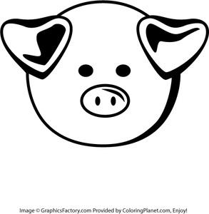 Cartoon Pig Face Clipart.