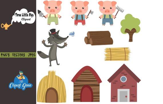 Three Little Pigs Clipart, Three Little Pigs Clip Art, Three.