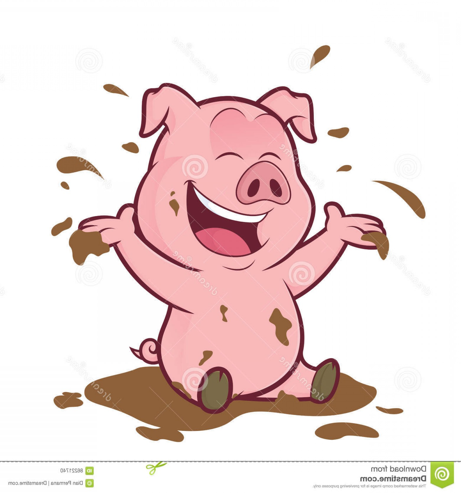 Stock Illustration Pig Playing Mud Clipart Picture Cartoon.