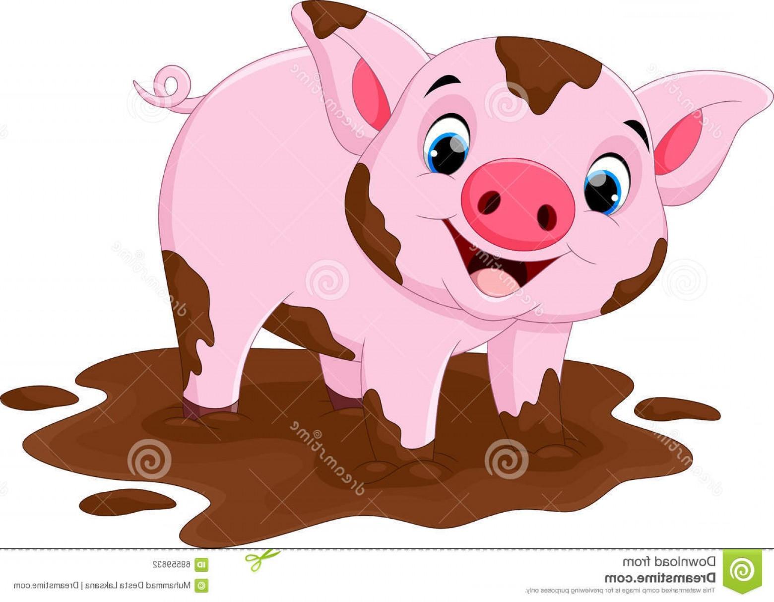 Stock Illustration Cartoon Pig Play Mud Puddle Vector.