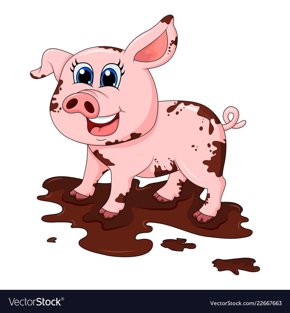 Dirty pig in mud cartoon character design.