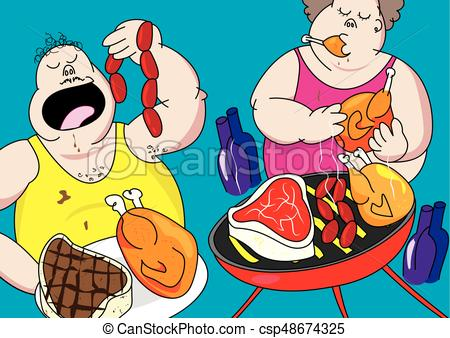 funny barbecue party pig out cartoon.