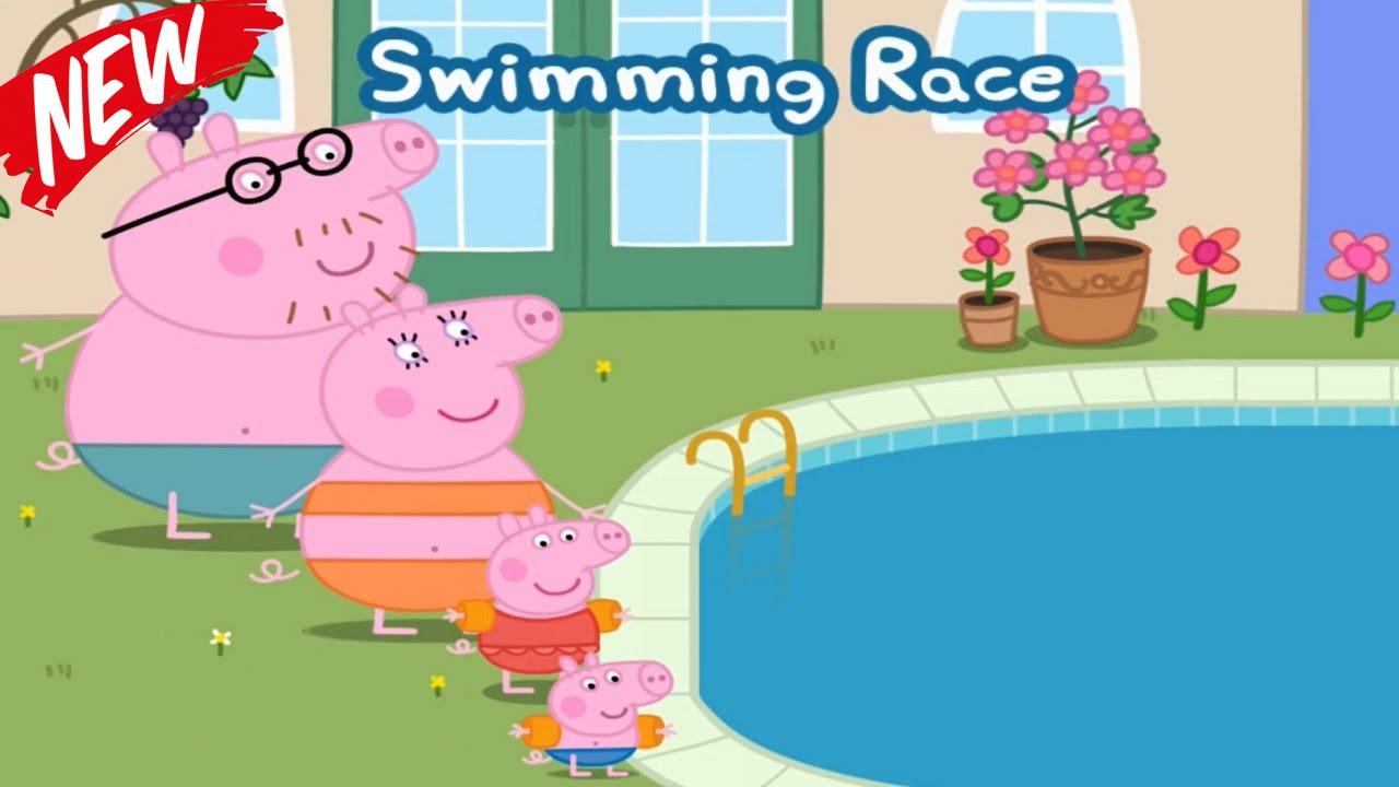 ☀ Peppa Pig Swimming Race ☀ Peppa pig swimming pool ☀ Peppa pig.