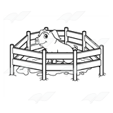 A Beka Book :: Clip Art :: Pig in Muddy Pen.