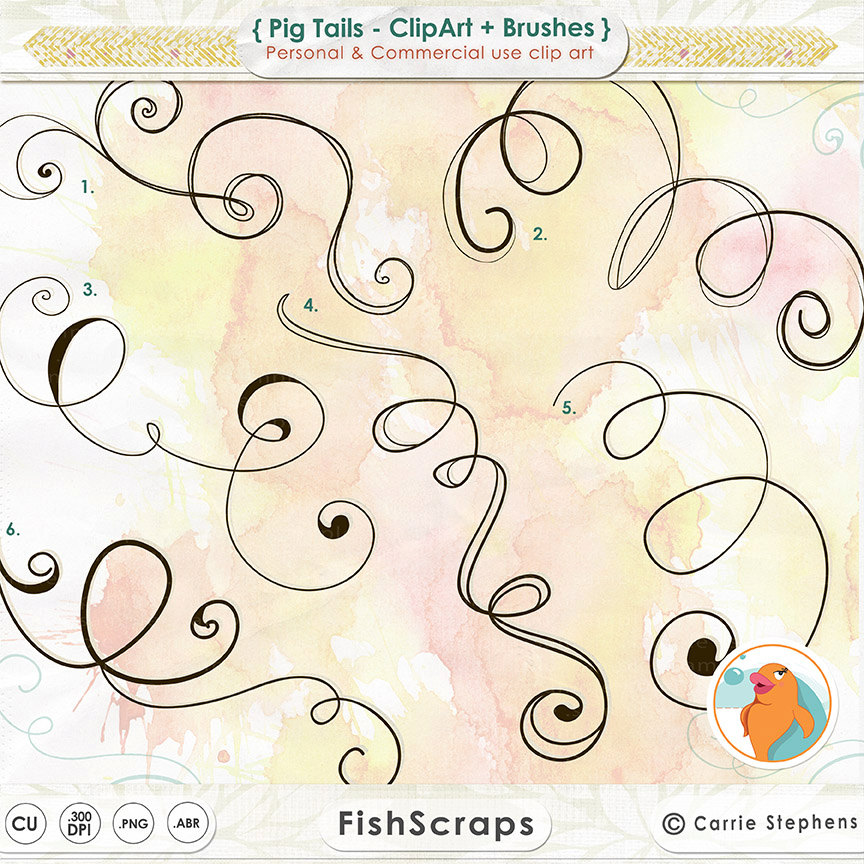 Digital Swirl ClipArt Pig Tail Curls Curlicues by FishScraps.